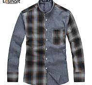 Lesmart Hommes Col de Chemise Manche Longues Shirt et Chemisier Gris - SL13612
