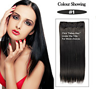 Black Staight Synthetic Clip-In Hair Extension