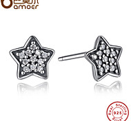 Genuine 925 Sterling Silver Sparkling Stud Earrings With Clear CZ For Women Compatible with  Jewelry Gift