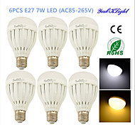 YouOKLight® 6PCS E27 7W 14*SMD5730 600LM  White/Warm White Light LED   Globe Bulbs (AC85~265V/AC110-130V/AC220-240V)