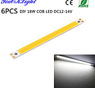 YouOKLight® 6PCS DIY 18W 1700lm 6500K  Integrated COB LED White Light Bar - Silver + Yellow (DC12~14V)