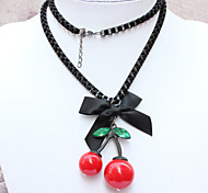 New Arrival Fashion Jewelry Popular Bow Crystal Cherry Necklace