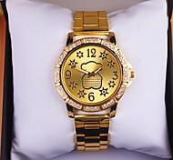 l'ours de bande dessinée de la montre de dames montre en or rose de quartz de diamant