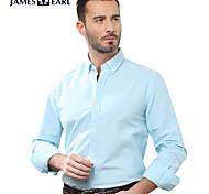 JamesEarl Men's Shirt Collar Long Sleeve Shirt & Blouse Blue - M81XF000873