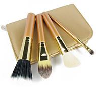 4pcs Makeup Brush Set Professional Wood Handle Premium Synthetic Kabuki Foundation Blending Cosmetics  Brushes Kit