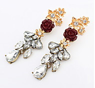European And American Fashion Flower Wild Temperament Earrings Crystal Jewelry
