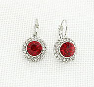 Women's Fashion Rhinestone Silver Plate Metal Round Crystal Earrings