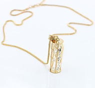 Women's Fashion Simple Zircon Crystal Pendant Long Necklace 1pc