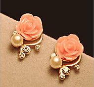 New Arrival Fashional Rhinestone Pearl Rose Earrings