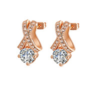 T&C Women's Clear Crystal Jewelry 18k Rose Gold Plated X Style Cz Diamond Stud Earrings