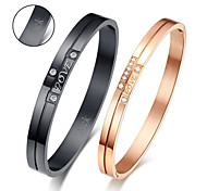 Personalized Valentine's Day Gift Couple's Jewelry Lovers Titanium Steel Gold/Black Bracelets(One Pair)