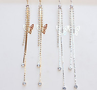 New Arrival Fashional Rhinestone Butterfly Tassel Earrings