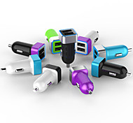 Private Design 3.4A Dual USB Car Charger with Aluminum Ring and Blue LED Light for Smartphone and Tablet