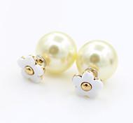 Women's Fashion Sweet Drip of Oil Flowers Pearl Earrings