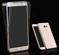 TPU caso de la cubierta pantalla hacia atrás 2 piezas flexibles transparentes de 360 grados completamente táctil frontal + para Samsung