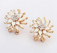 European And American Fashion Delicate Water Lilies Alloy Earrings