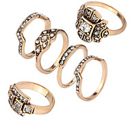 Ring Acrylic Party Daily Casual Jewelry Alloy Women Ring 1set Silver Japanese Korean Fashion Personality Beautiful Ancient 6pcs