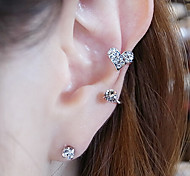 New Arrival Fashional Rhinestoen Heart Earhook Earring