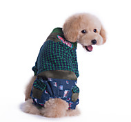 Dog Clothes/Jumpsuit Multicolored Winter Plaid/Check Fashion