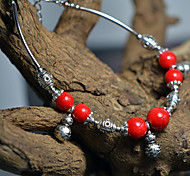 Vintage Style Retro Colors Stone Gourd Silver-Plated Anklet