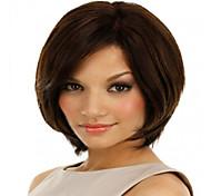 alta qualidade e preço mais barato marrom escuro curto syntheic extensões peruca
