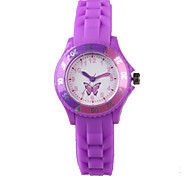 Fashion Purple Silicone Butterfly Pattern Ladies Watch