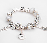 Women jewelry 925 Sterling Silver bracelet Murano Glass Crystal European Beads Strand cross charm Beads bracelets BLH042