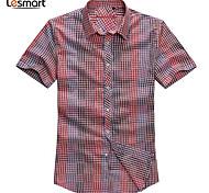 Lesmart Hommes Col de Chemise Manche Courtes Shirt et Chemisier Bleu / Rouge - MSS6206