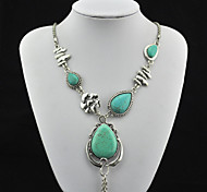 Vintage Look Antique Silver Plated Alloy Water Drop Turquoise Stone Necklace Pendant(1PC)