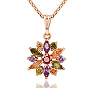 Designer Jewelry Multicolor Crystal Flower Pendant Necklace