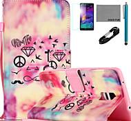 coco Fun® Rautenmuster PU-Lederetui mit V8-USB-Kabel flim und Stylus für Samsung Galaxy Note 3 / Note 4 / Note 5
