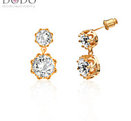 Bridal Big Simulated Diamond Earrings For Women New 18K Gold Plated Cubic Zirconia Crown Earrings Jewelry E10119