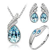 Jewelry Set Elegant Crystal Angel Wing Pendant Necklace Earring Bracelet Gift