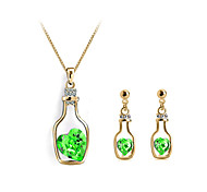 Jewelry Set Classic Elegant Crystal Wishing Bottles Pendant Necklace Earrings Girlfriend Gift