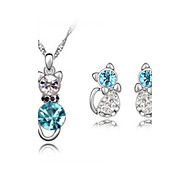 Jewelry Set Shining Crystal Elegant Kitty Cat Pendant Necklace Earring Gift for Bride(Assorted Color)