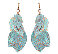 Blue  Drop Leaf Shape Earrings