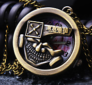 Unisex Round Dial Simple Personality Pattern Retro Cartoon Fashion Quartz Necklace Watch Pocket Watch