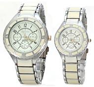 Couple's Classic Deisgn Alloy Band Quartz Wristwatch