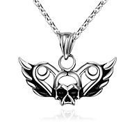 Maya Fashion Unique Skull Mask Man Stainless Steel Pendant Necklace(Gray)(1Pcs)