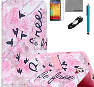 COCO FUN® Flowers Word Pattern PU Leather Case with V8 USB Cable Flim and Stylus for Samsung Galaxy Note 3/Note 4
