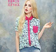 ELFSACK Women's Shirt Collar Short Sleeve Shirt & Blouse Red / Yellow - 1524065