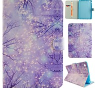 Purple Woods Coloured Drawing or Pattern PU Leather Folio Case Tablet Holster for iPad Mini 3/2/1