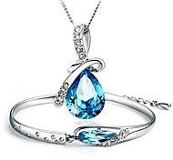 2pcs Jewelry Set Shining Crystal Angle Tears Pendant Necklace Bracelet(Assorted Color)