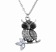 Europe All-Match Owl Diamond Pendant Necklace