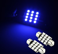 2 x Blue 12 SMD LED Festoon Interior Dome Bulb Light 36mm