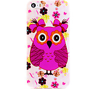 Owl Series Cute Girl Owl IMD Printed TPU Soft Back Cover for iPhone 5/5S