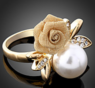 South Korea Fashion Flower Set Auger Pearl Ring MYJ00115