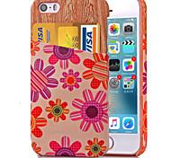 karzea ™ motif fleur rose cuir PU dos de cas de couverture avec porte-cartes et un support pour iphone5 / 5s