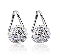 2016 Korean Women 925 Silver Sterling Silver Jewelry Crystal Ball Earrings Stud Earrings 1Pair
