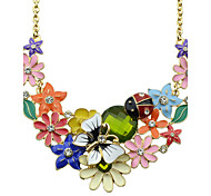 Colorful Enamel Flower Statement Necklace Jewelry